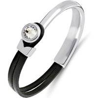 Poppy Black & Silver Leather Bracelet - M/L - Circumference - 185mm. Width - 70mm. Inner Diameter - 65mm.