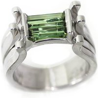 White Gold Plated Silver Tourmaline Ring - UK F - US 3 - EU 44