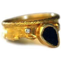 Yellow Gold Plated Silver Black Agate Ring - UK Y - US 12 - EU 67 1/2