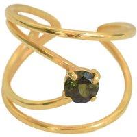 Yellow Gold Plated Rhombus Ring With Green Tourmaline - UK L - US 5 1/2 - EU 51 3/4