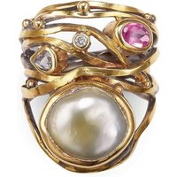 Gold & South Sea Pearl Twisted Ring | Bergsoe - UK S 3/4 - US 9 1/2 - EU 61