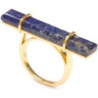18kt Yellow Gold Vermeil Urban Bar Ring With Lapis Lazuli - UK Q - US 8 - EU 57 3/4