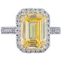 14kt White Gold Antique Pave-Set Canary Emerald Cut Ring -