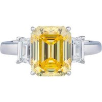 14kt White Gold Canary Three Stone Ring - UK N - US 6 1/2 - EU 54