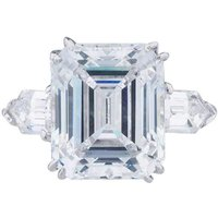 14kt White Gold Emerald Cut Ring with Bullet Sides - UK L -