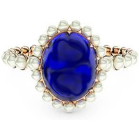 18kt Gold, Diamond & Sapphire Ring - UK P - US 7 1/2 - EU 56 1/2