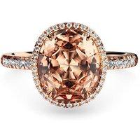 18kt Rose Gold, Diamond & Morganite Ring - UK M - US 6 - EU 52 3/4