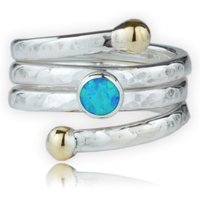 9kt Gold & Sterling Silver Coil Ring With Blue Opal - UK O 1/2 - US 7 1/4 - EU 55 3/4