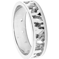 Cornish Seawater Textured Handmade 9kt White Gold Nautical Wedding Ring - UK R 1/2 - US 8 7/8 - EU 59 1/2