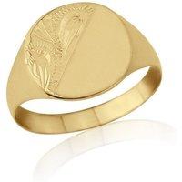 Cushion-shaped 9kt Yellow Gold Lightweight Engraved Signet Ring - K - Black