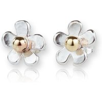 Gold & Sterling Silver Daisy Hammered Stud Earrings