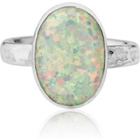 Hammered Sterling Silver & White Opal Ring - UK L - US 5 1/2 - EU 51 3/4