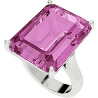 Pink Sapphire Emerald Cut Sterling Silver Cocktail Ring - U