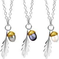 Sterling Silver & 18kt Gold Vermeil Large Acorn Pendant - White
