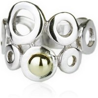Sterling Silver Ring With 9kt Gold Bead - UK K - US 5 1/8 - EU 50