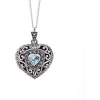 Sterling Silver Vintage Heart Locket with Blue Topaz - 24 (61cm) chain
