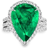 Emerald Diamond Ring - Pear - UK R - US 8 5/8 - EU 59