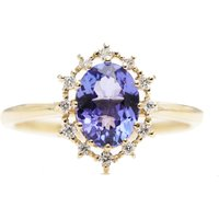 14kt Gold Natural Oval Tanzanite Engagement Ring - UK O 1/2 - US 7.5 - EU 55.7