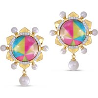 Sterling Silver Gold Plated Unicorn Popcorn Pearl & Vibrant Mosaic Diamond Tops