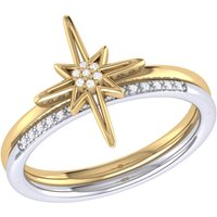 Yellow Gold Plated Two-Tone North Star Detachable Ring - UK T 1/2 - US 10 - EU 62