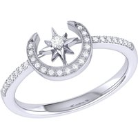 Crescent North Star Ring in Sterling Silver - UK T 1/2 - US 10 - EU 62