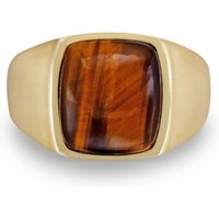 Sterling Silver Chatoyant Yellow Tiger Eye Ring - UK R 1/2 - US 9 - EU 59.5