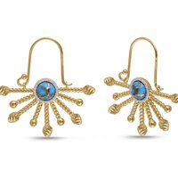 Yellow Gold Plated Day Break Turquoise Drop Earrings