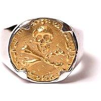 Yellow Gold Plated Pirate Skull & Crossbones Ring - UK L - US 5 1/2 - EU 51 3/4