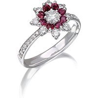 White Gold & Ruby Flowers Collection Ring | Pinomanna - UK Q - US 8 - EU 57 3/4