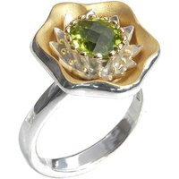 Sterling Silver Summer Ring With Yellow Gold Details - UK Y - US 12 - EU 67 1/2