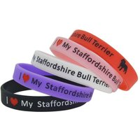 I Love My Staffordshire Bull Terrier Silicon Bracelet - Red