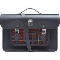 Cambridge Satchel 15 inch Batchel in Leather - Navy with ROH Tweed and Logo