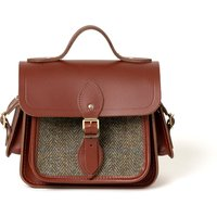 Cambridge Satchel Traveller Bag with Side Pockets in Leather - Brandy with Green Tweed