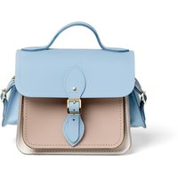 Cambridge Satchel Traveller Bag with Side Pockets in Leather - Delphinium Matte, Biscuit Matte & Lil
