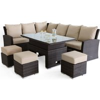 Maze Rattan Kingston Brown Corner Outdoor Dining Set with Rising Table
