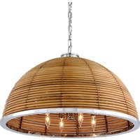 Hudson Valley Lighting Carayes Rattan And Stainless Steel 8lt Chandelier