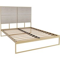 Gillmore Bed Federico Brass Frame and Weathered Oak Headboard Bed / Double