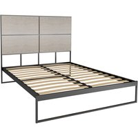 Gillmore Bed Federico Black Frame and Weathered Oak Headboard Bed / Double