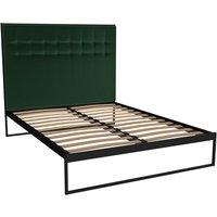 Gillmore Federico Black Frame Deep Green Upholstered Headboard Bed / Double