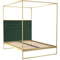 Gillmore Bed Federico Brass Frame and Canopy Deep Green Upholstered Headboard Bed / Double