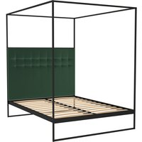 Gillmore Bed Federico Black Frame and Canopy Deep Green Upholstered Headboard Bed / Double
