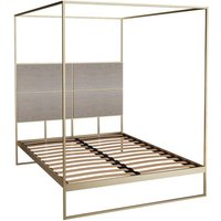 Gillmore Bed Federico Brass Frame And Canopy and Weathered Oak Headboard / Double