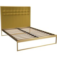 Gillmore Bed Federico Brass Frame and Mustard Upholstered Headboard Bed / Double