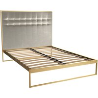 Gillmore Bed Federico Brass Frame and Mushroom Upholstered Headboard Bed / Double