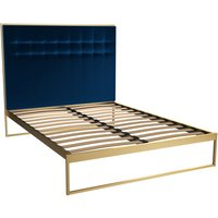 Gillmore Bed Federico Brass Frame and Midnight Blue Upholstered Headboard Bed / Double