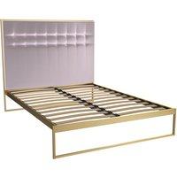 Gillmore Federico Brass Frame Blush Upholstered Headboard Bed / Double