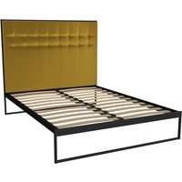 Gillmore Bed Federico Black Frame and Mustard Upholstered Headboard Bed / Double
