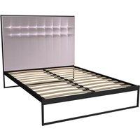 Gillmore Federico Matt Black Frame Blush Upholstered Headboard Bed / Double