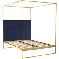 Gillmore Bed Federico Brass Frame and Canopy Midnight Blue Upholstered Headboard Bed / Double