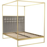 Gillmore Bed Federico Brass Frame and Canopy Mushroom Upholstered Headboard Bed / Double